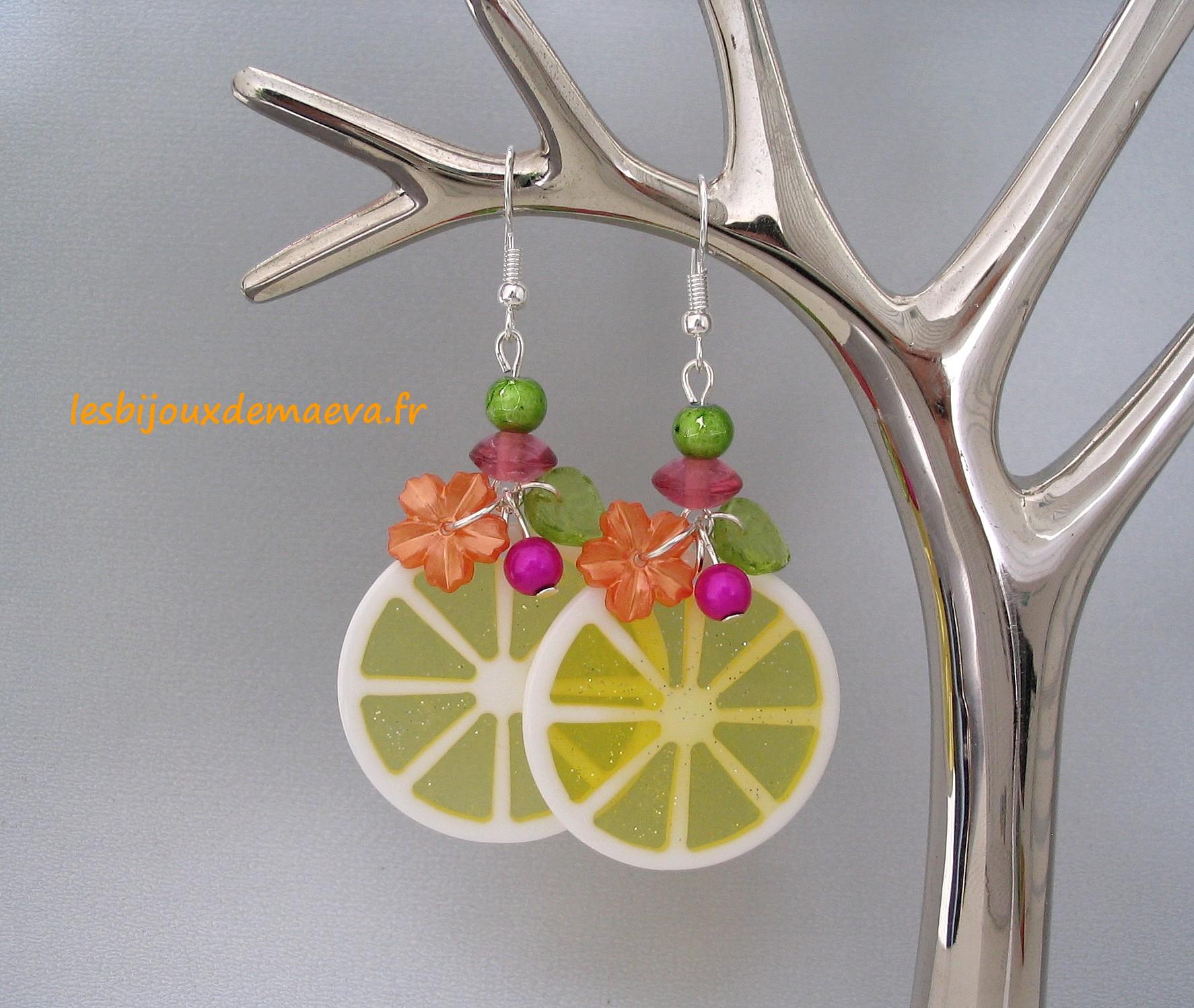 Boucle d'oreille jaune citron