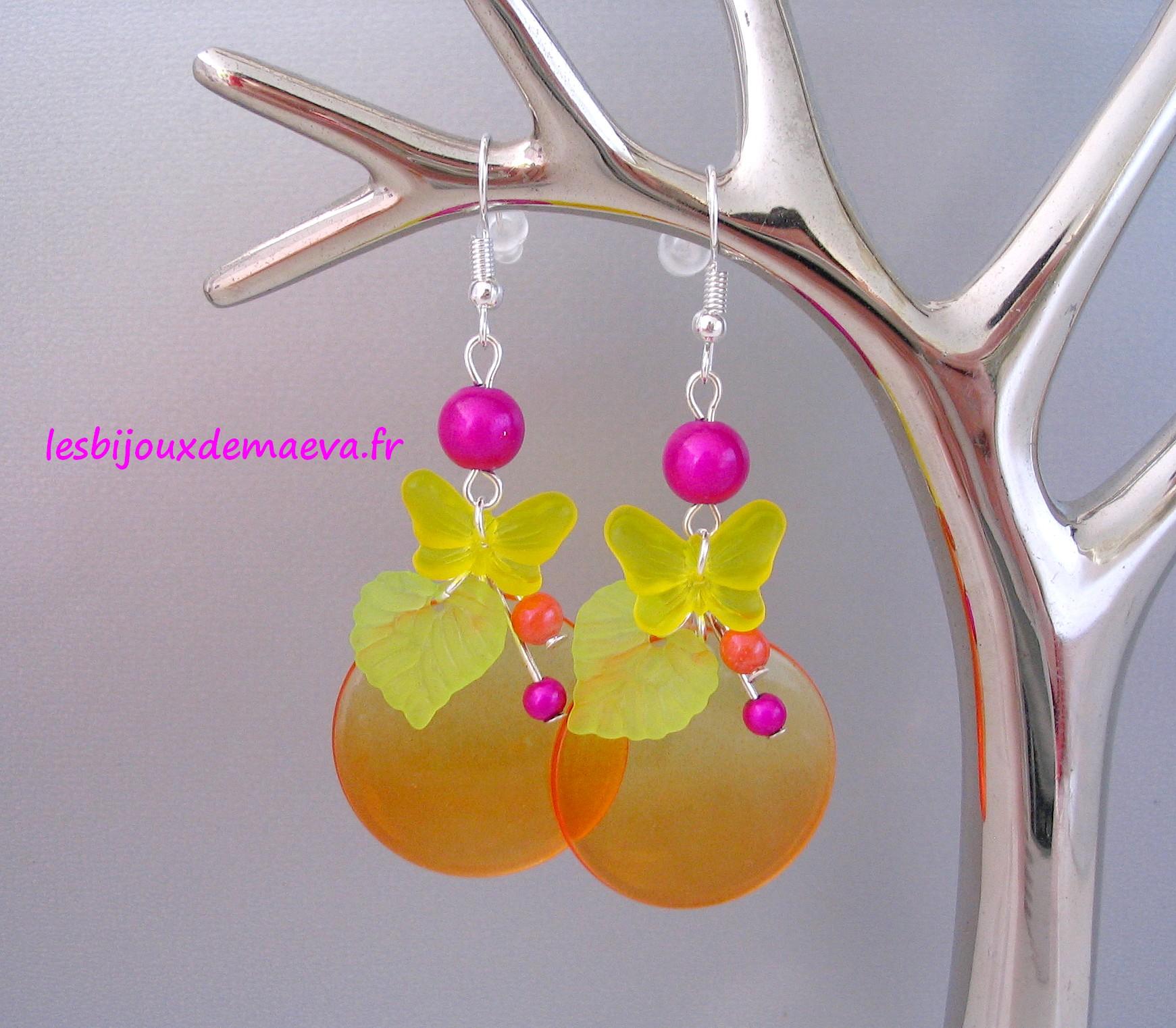 Boucles D Oreilles Fantaisies Orange Fushia Energie