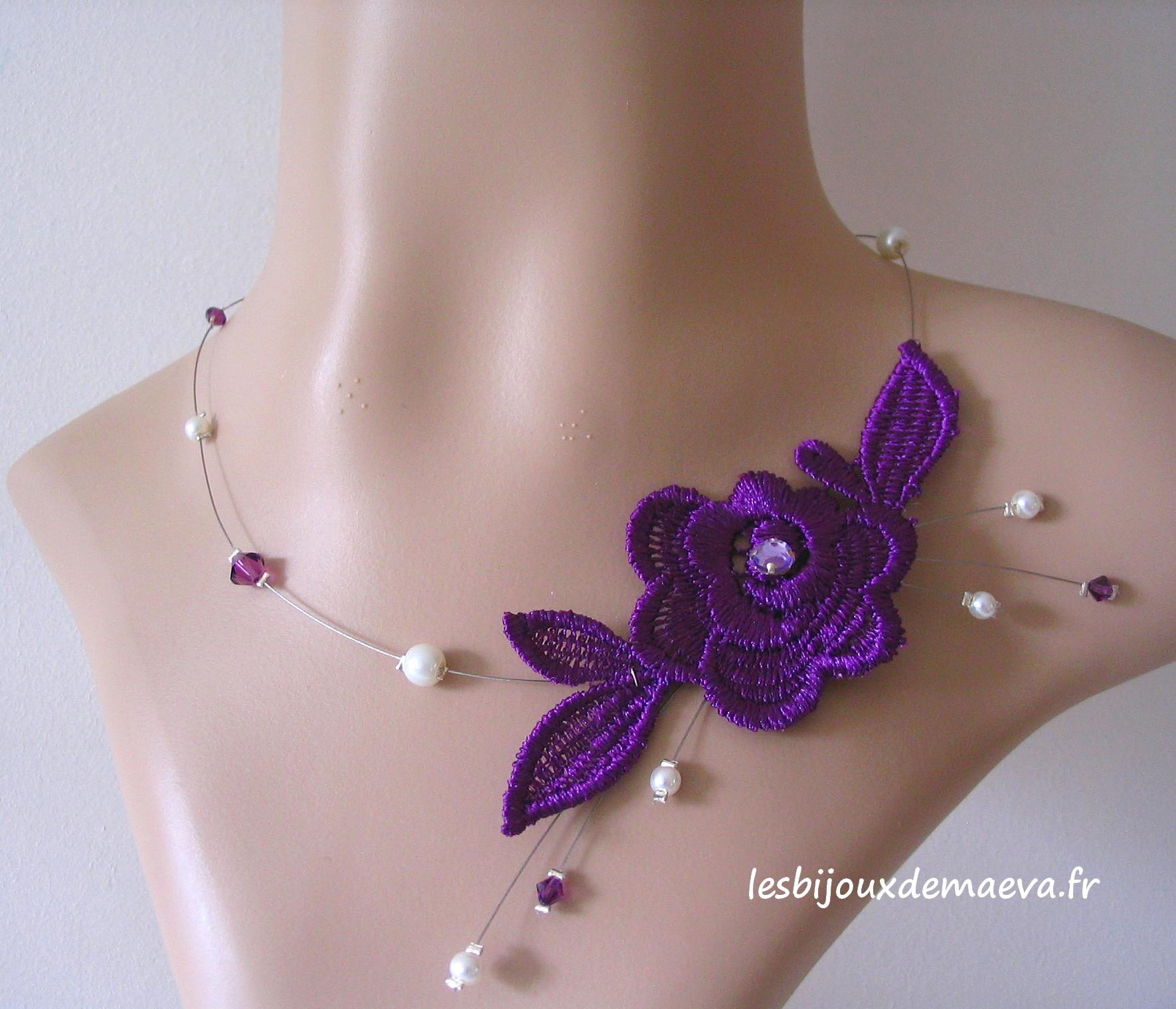 collier ras de cou violet mariage
