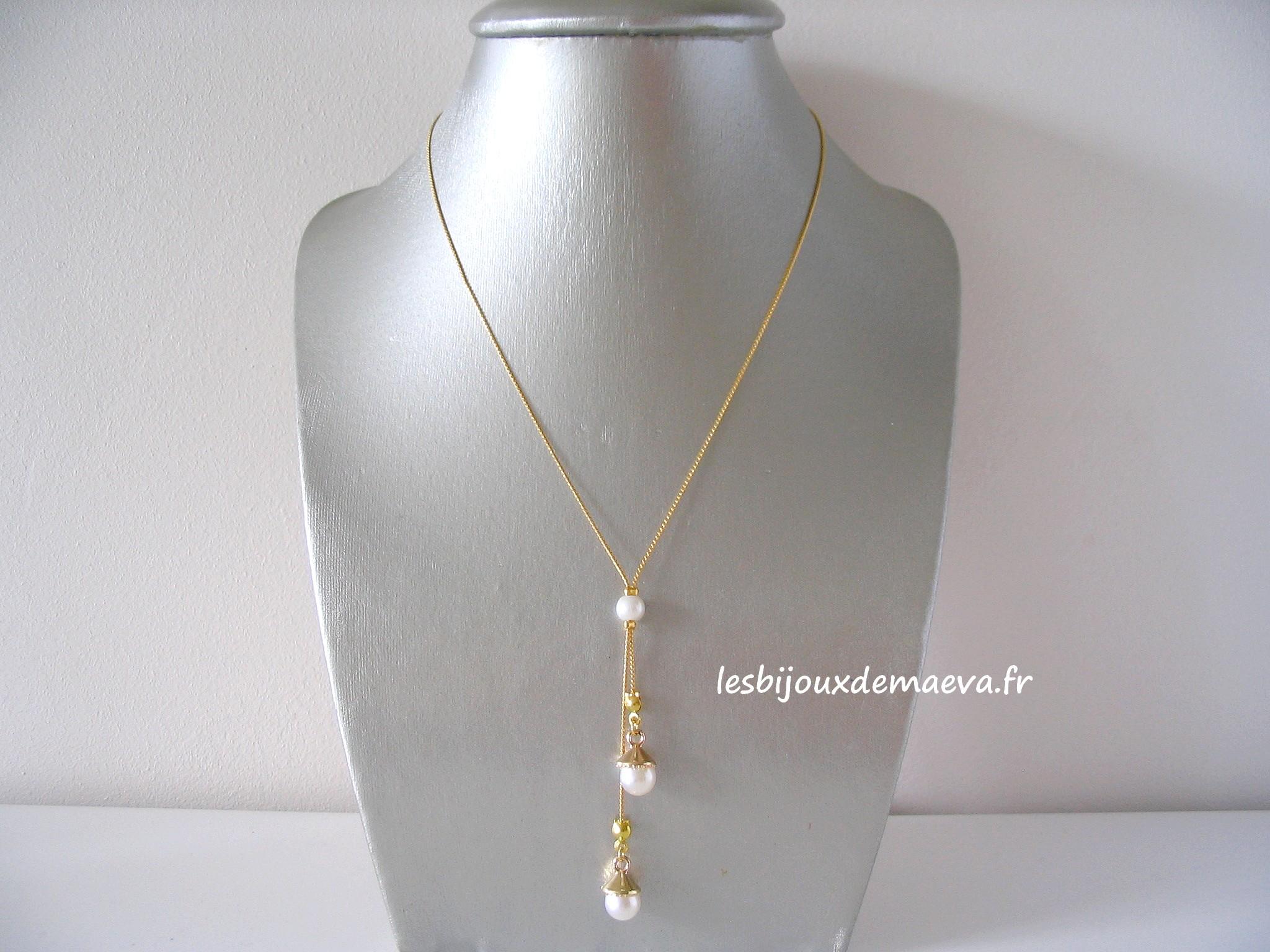 collier fantaisie mariage perles ivoire et dor tout simplement. Black Bedroom Furniture Sets. Home Design Ideas