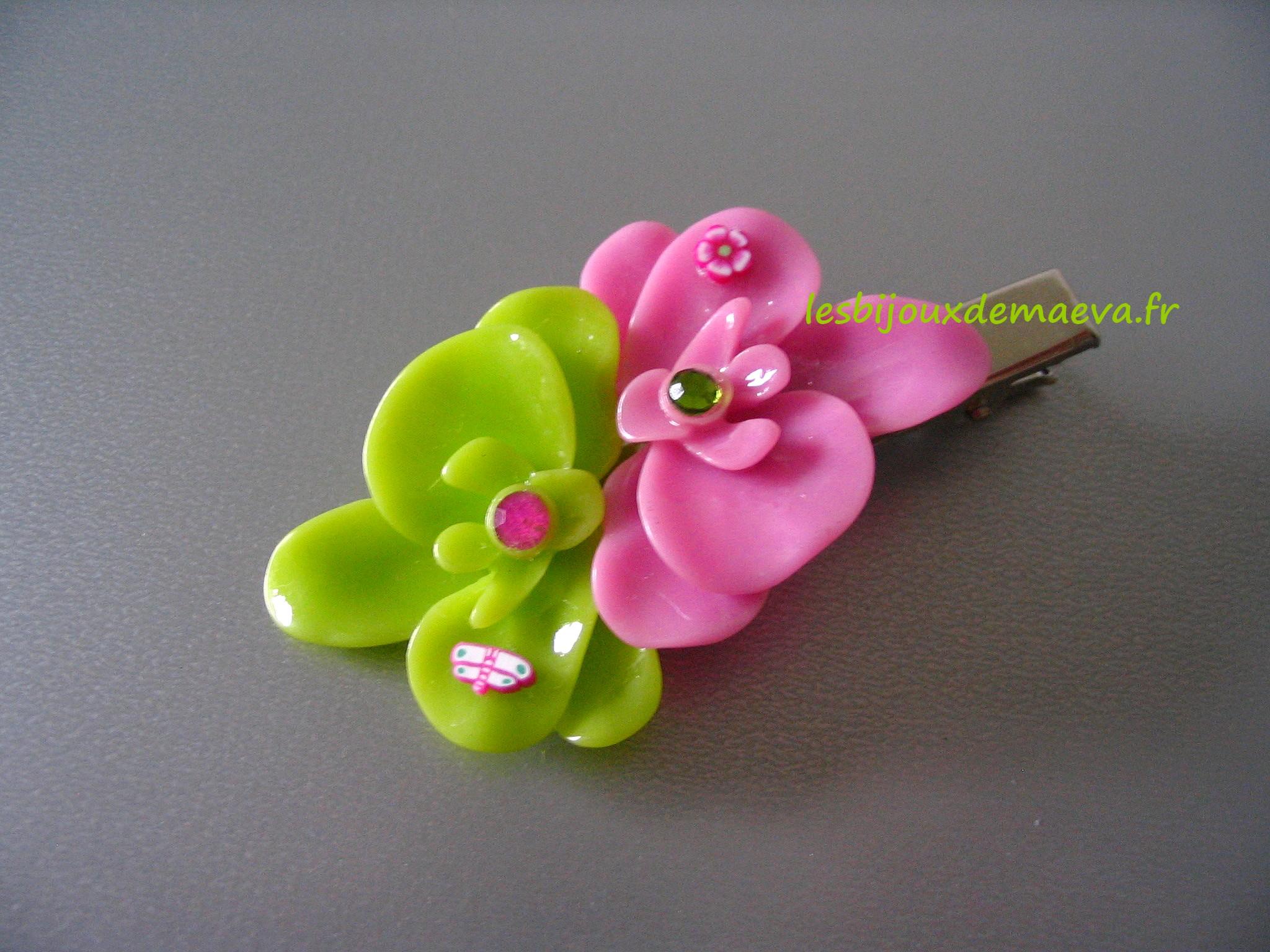 barette pince cheveux fillette fleurs d 39 orchid e rose et. Black Bedroom Furniture Sets. Home Design Ideas