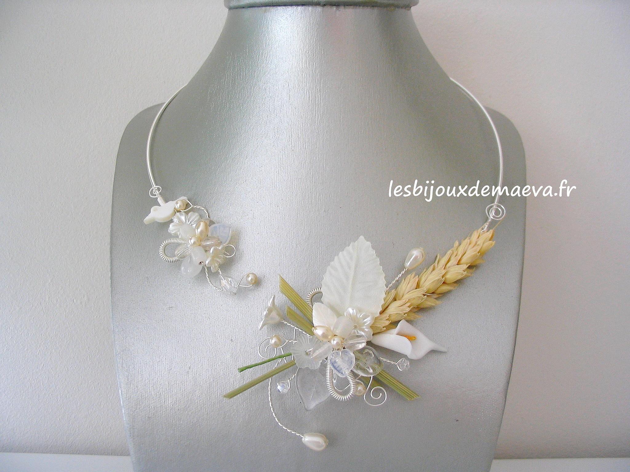 collier mariée ouvert thème champêtre