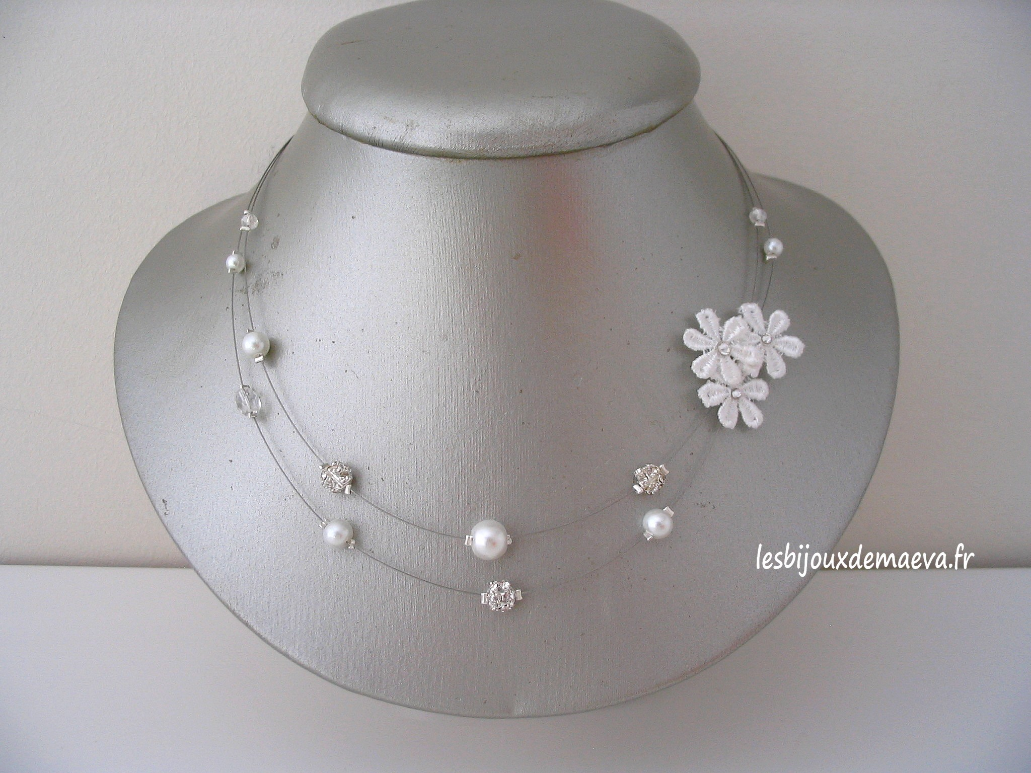 collier mariage blanc dentelle et perles sentimentale. Black Bedroom Furniture Sets. Home Design Ideas