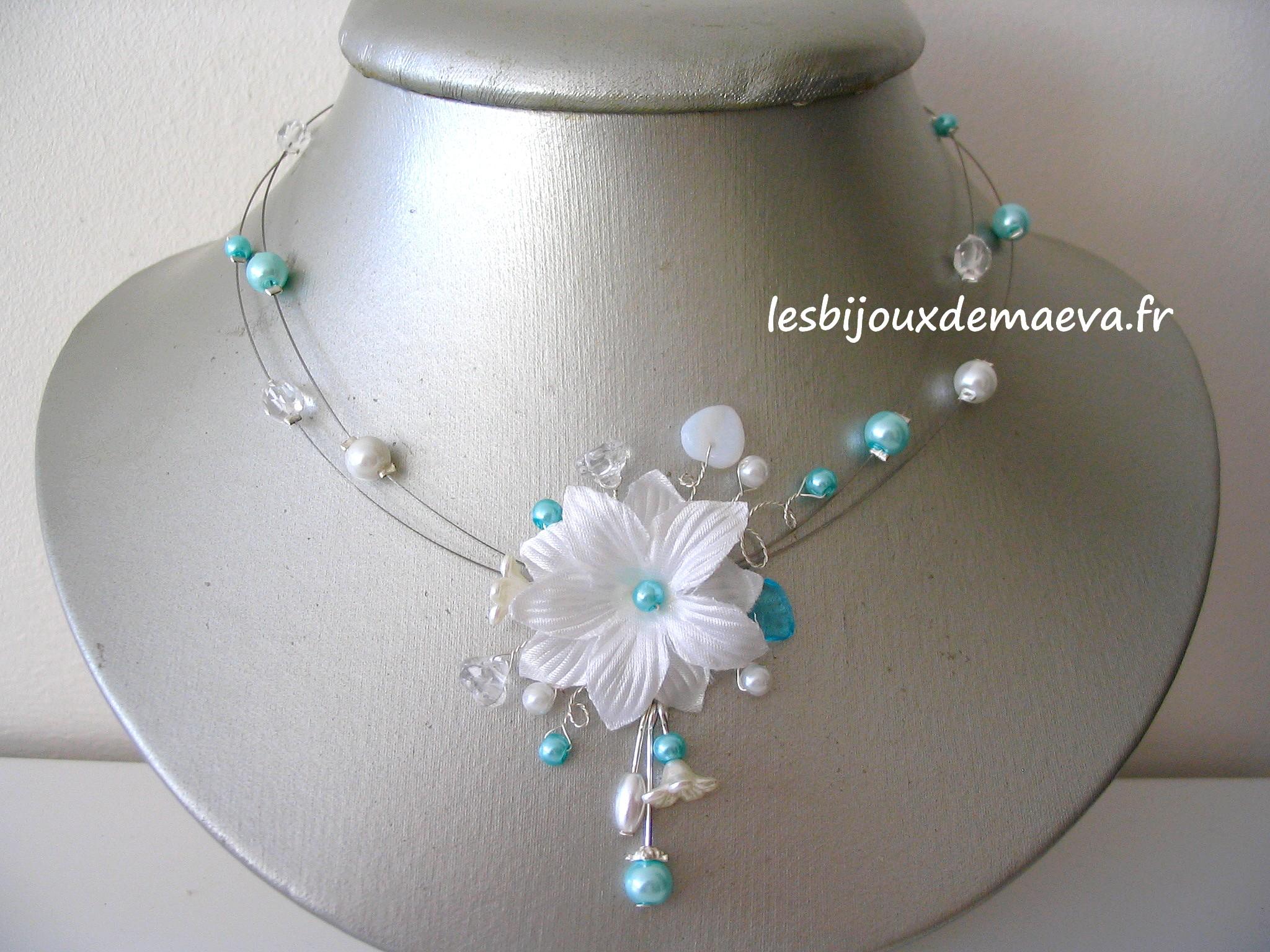 Bijoux mariage turquoise collier fantaisie mariee fleur for Collier fleur mariage
