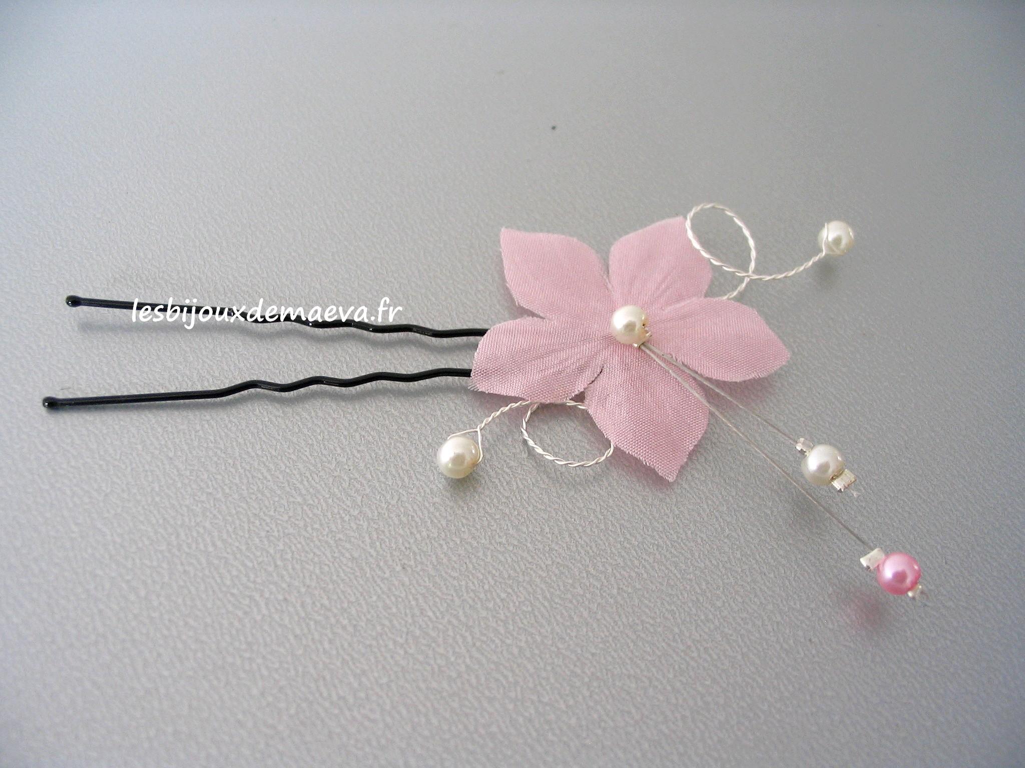 fleur cheveux mariage rose poudr radieuse. Black Bedroom Furniture Sets. Home Design Ideas