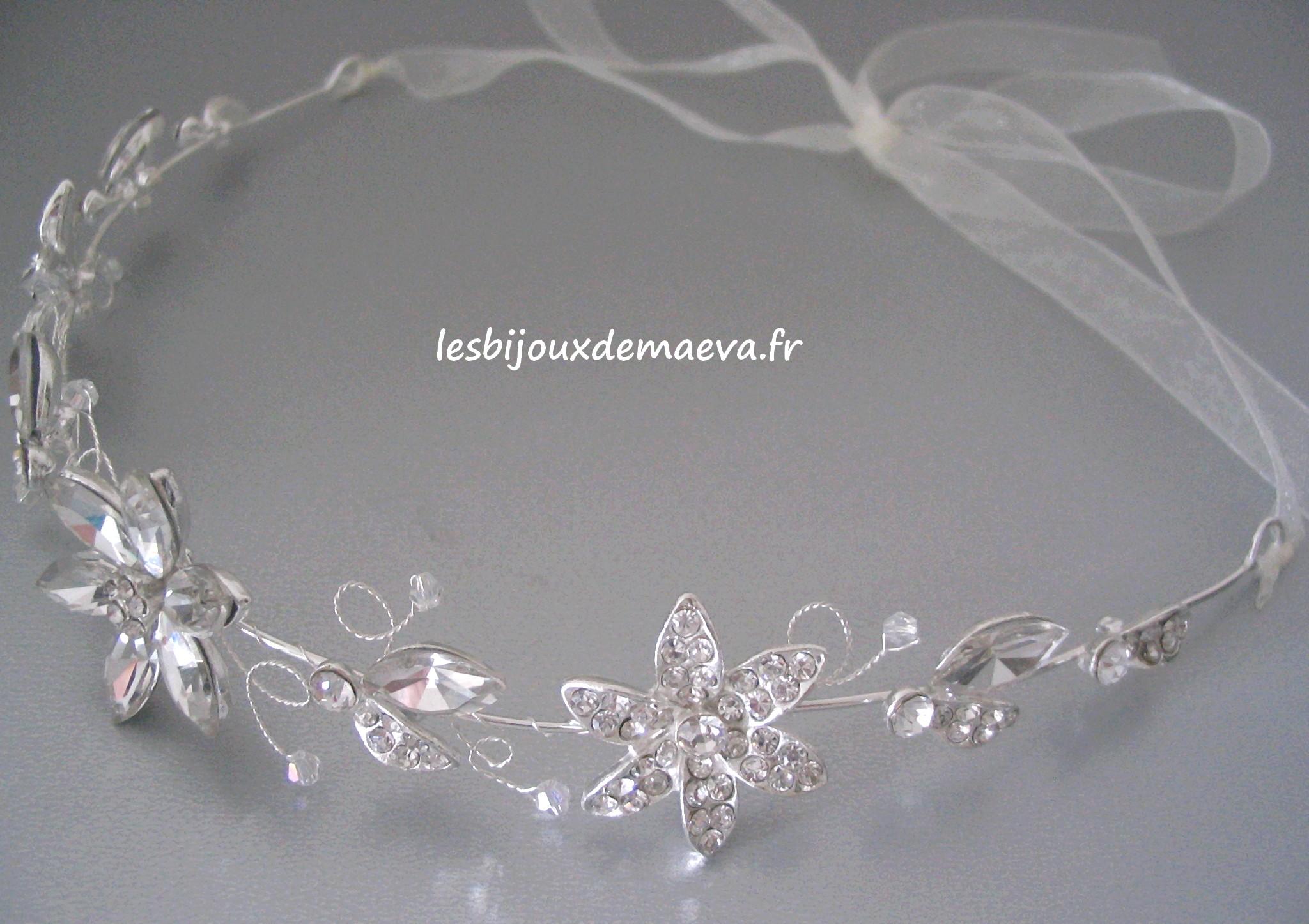 Headband mariage strass fleurs Princesse
