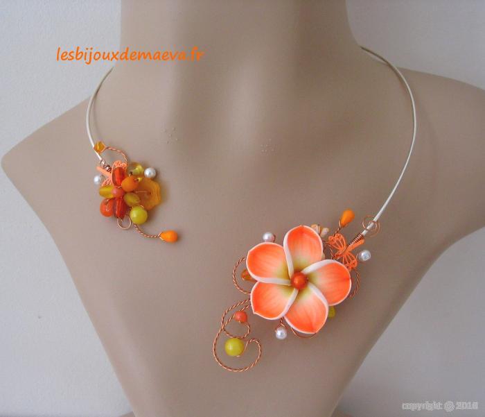 Bijoux Fantaisie Hyeres : Bijoux fantaisie orange collier ouvert et jaune hawa?