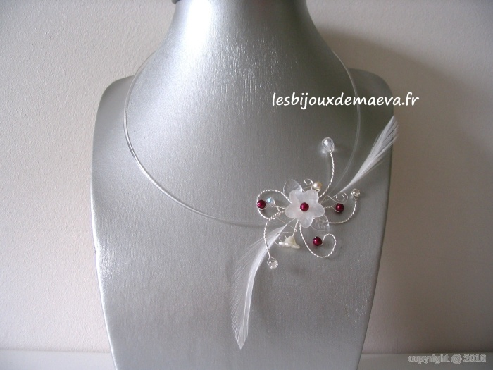 Les Bijoux Fantaisie De Luxe : Bijoux de mari?e collier fantaisie plumes ivoire quot eole