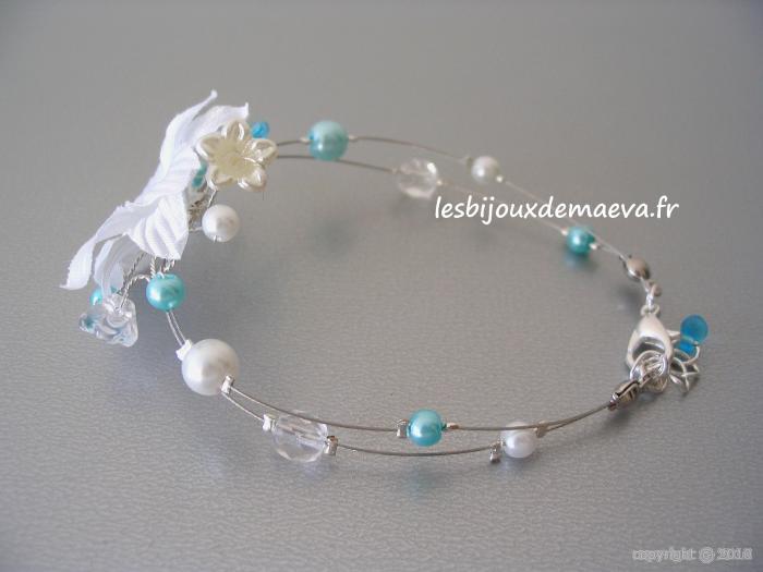bijoux mariage turquoise bracelet fantaisie turquoise et blanc fleur des neiges. Black Bedroom Furniture Sets. Home Design Ideas