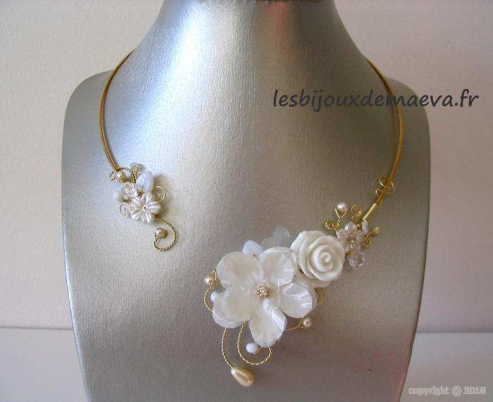 Bijoux mariage pas cher collier fantaisie pour mariee rose for Collier fleur mariage