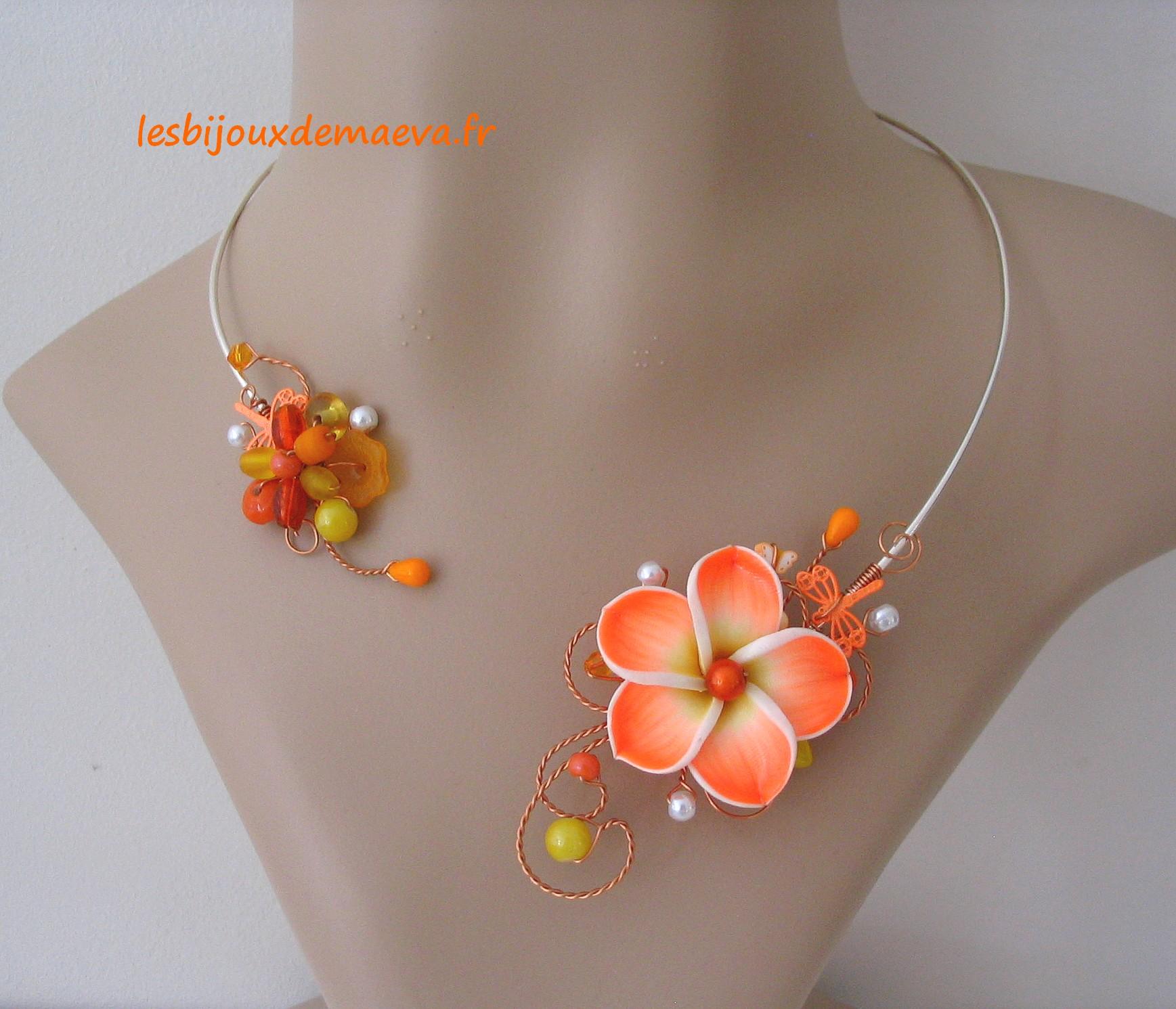 3a81f759021 Bijoux fantaisie orange collier ouvert orange et jaune Hawaï