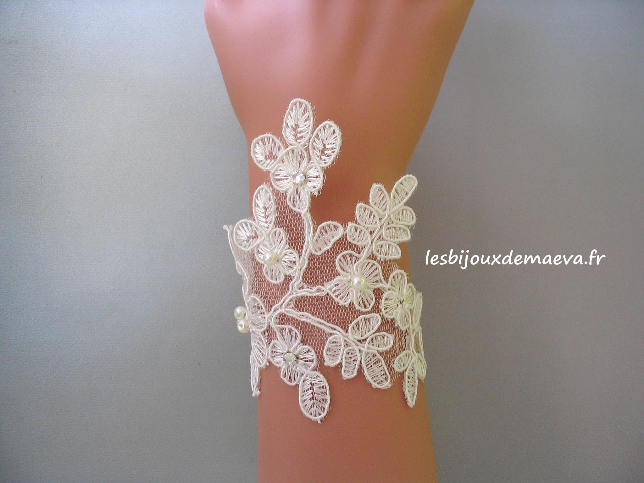 e836c3f196 Bijoux mariage dentelle bracelet Floral ivoire