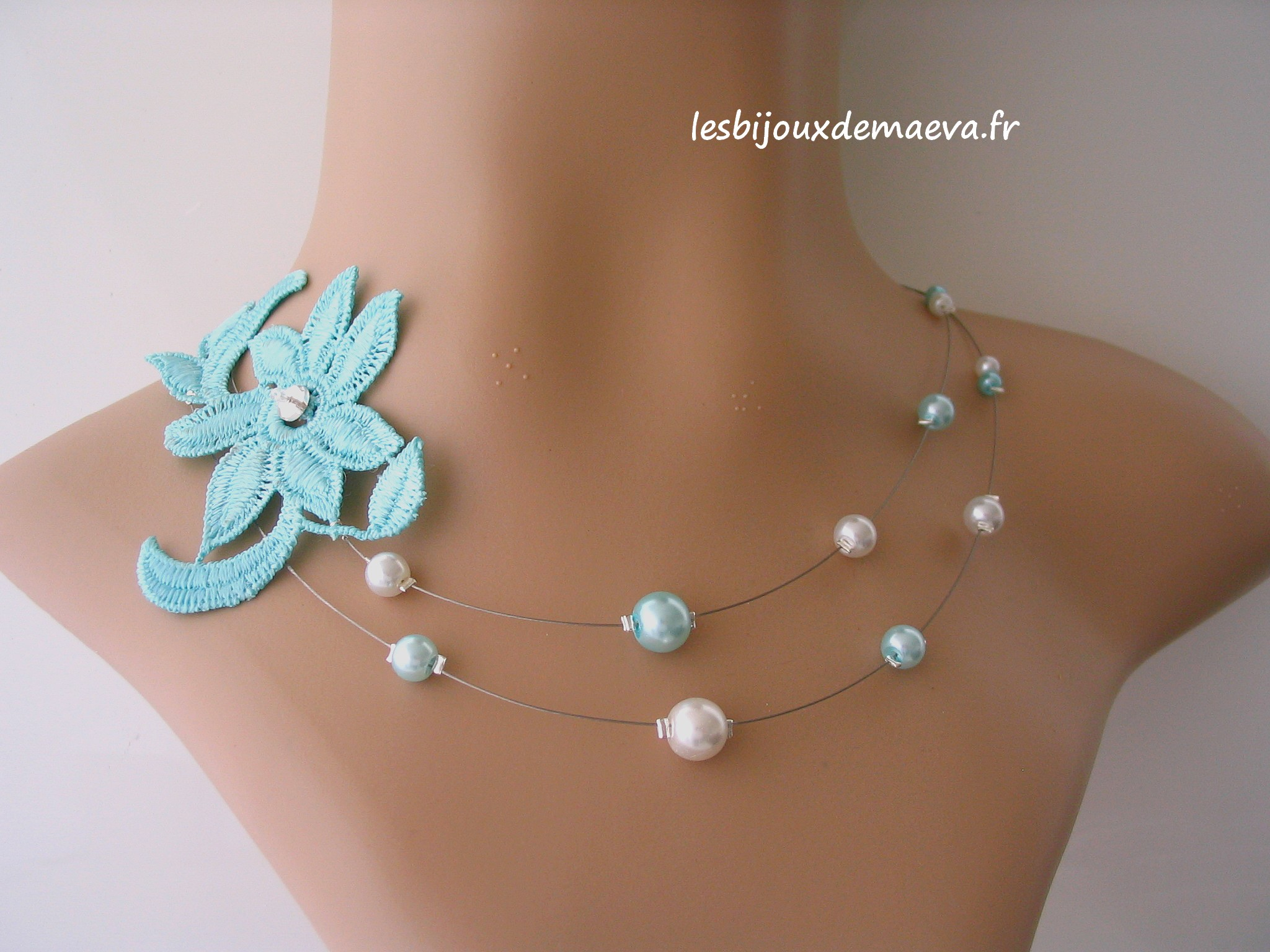 4f49a3b9f5ef2 Bijoux mariage dentelle collier turquoise Chimère