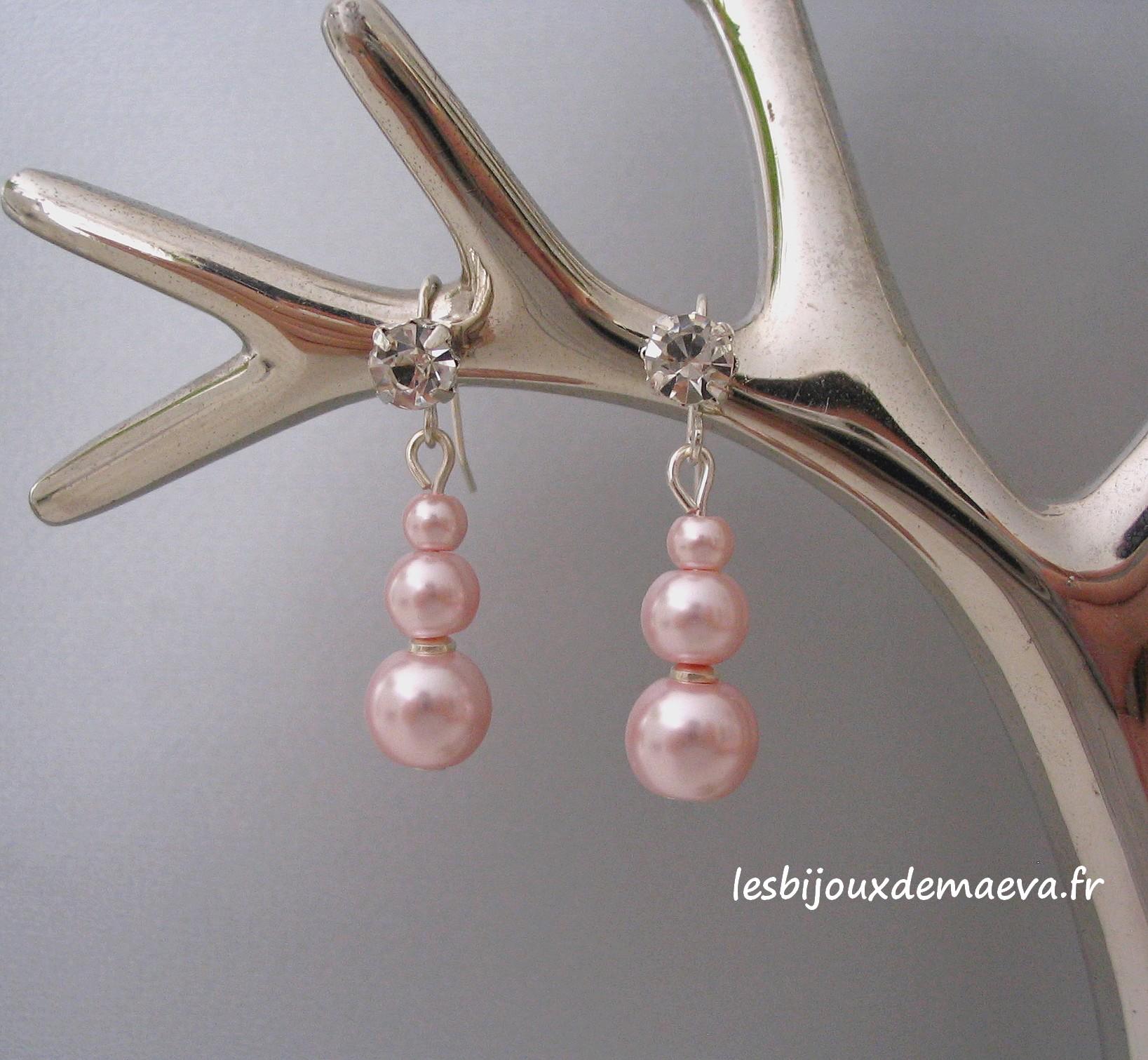 boucle d'oreille 3 perles