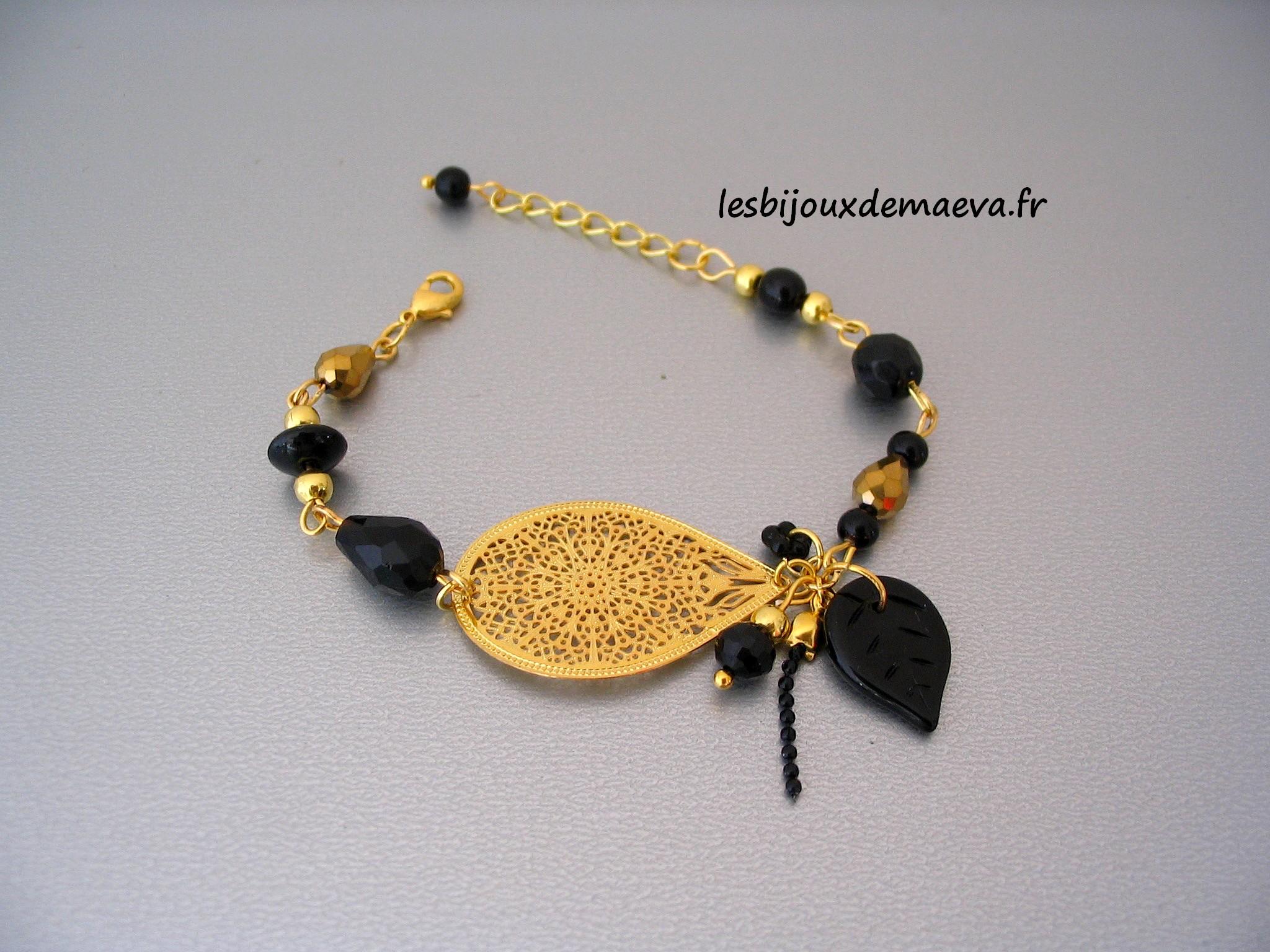 Bracelet fantaisie noir et doré Marrakech a75a8b99bf1