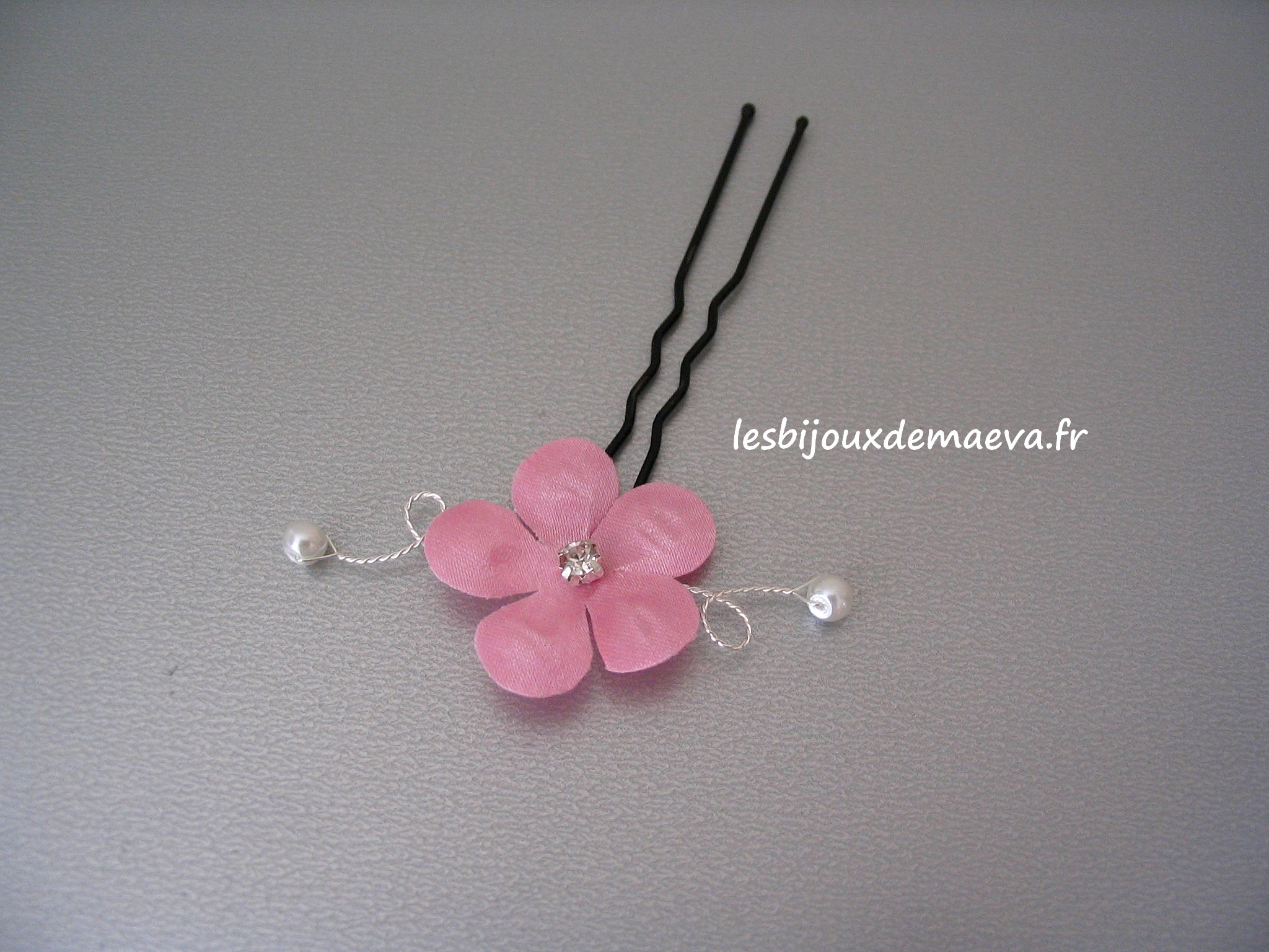 Epingle Cheveux Mariage Fleur Rose Idylle