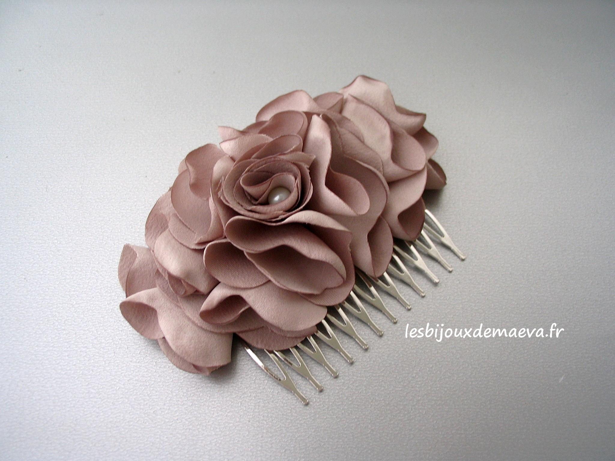 Fleur Cheveux Mariage Pas Cher Couleur Taupe Camelia