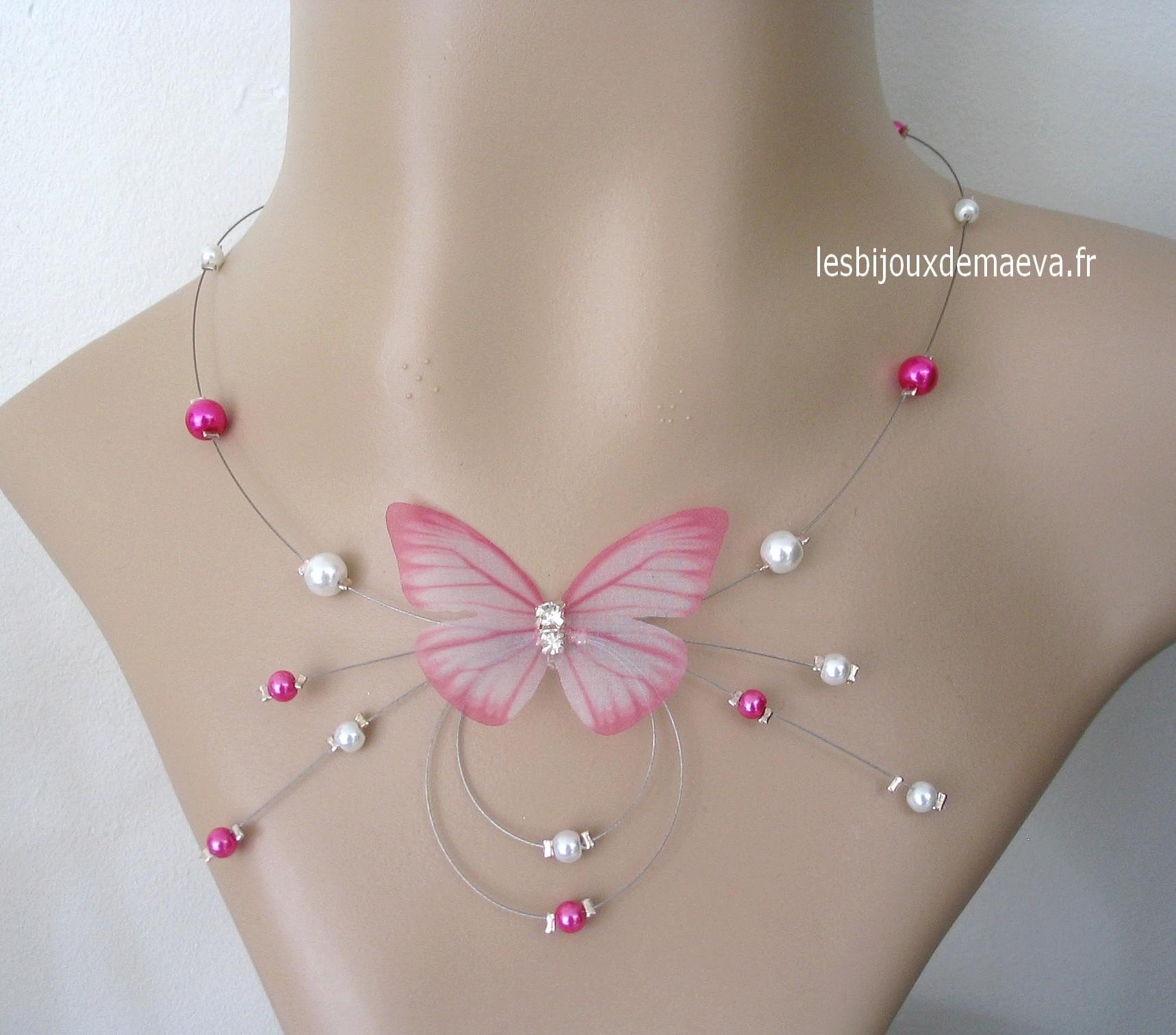 collier ras de cou rose fushia
