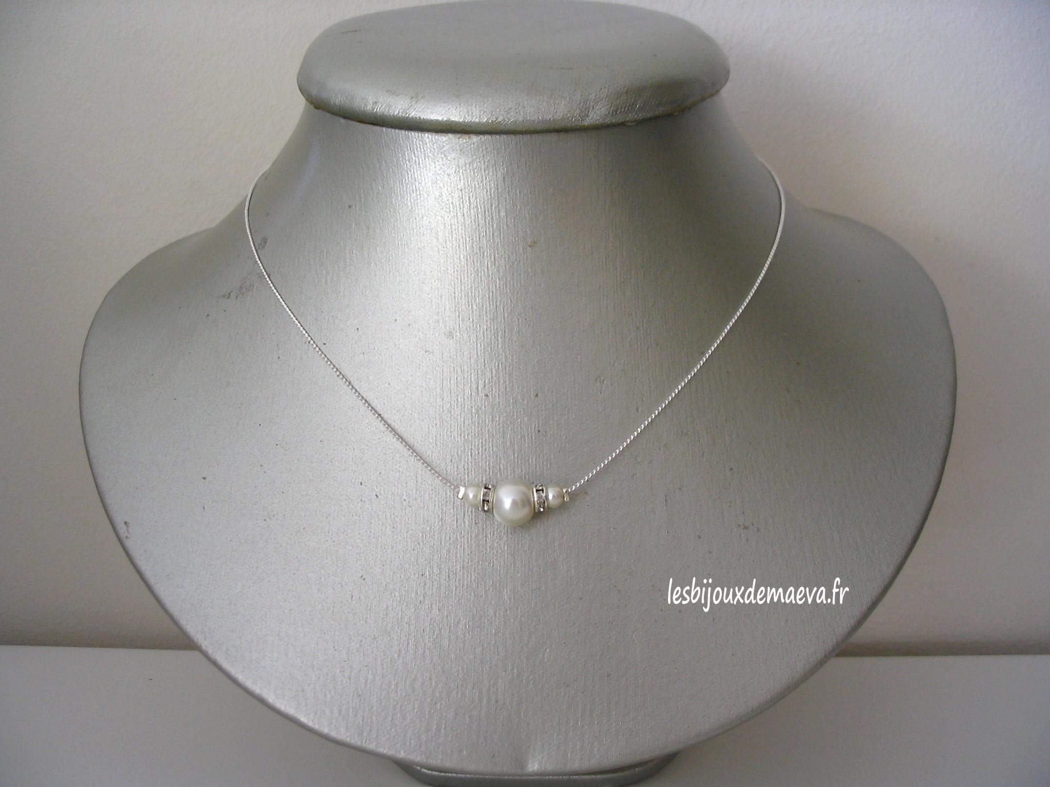 pretty cheap sale uk united kingdom Collier mariage perle ivoire et strass Discrète