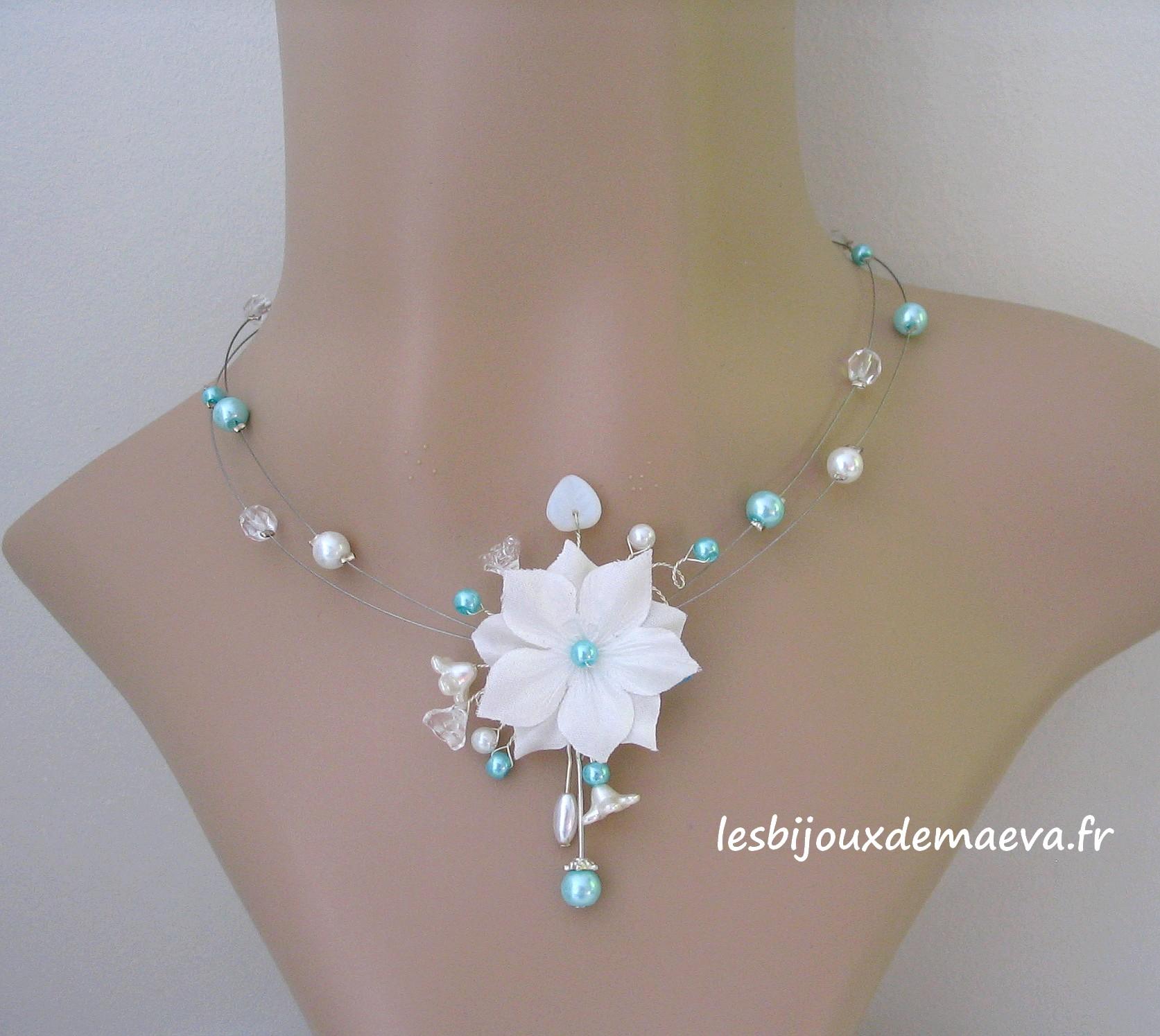 1064a4a49768e Bijoux mariage turquoise collier fantaisie mariée Fleur des neiges