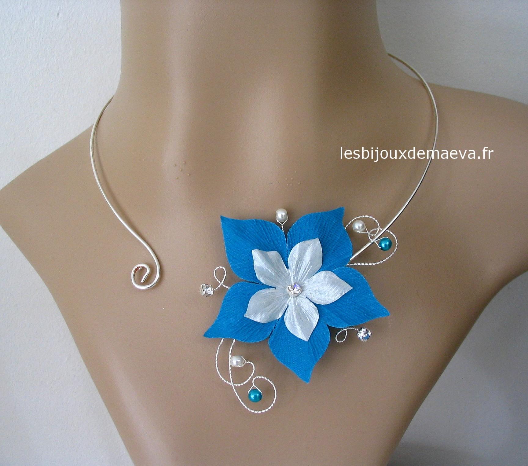 51748a1d29e17 Bijoux mariage turquoise collier ouvert Duo