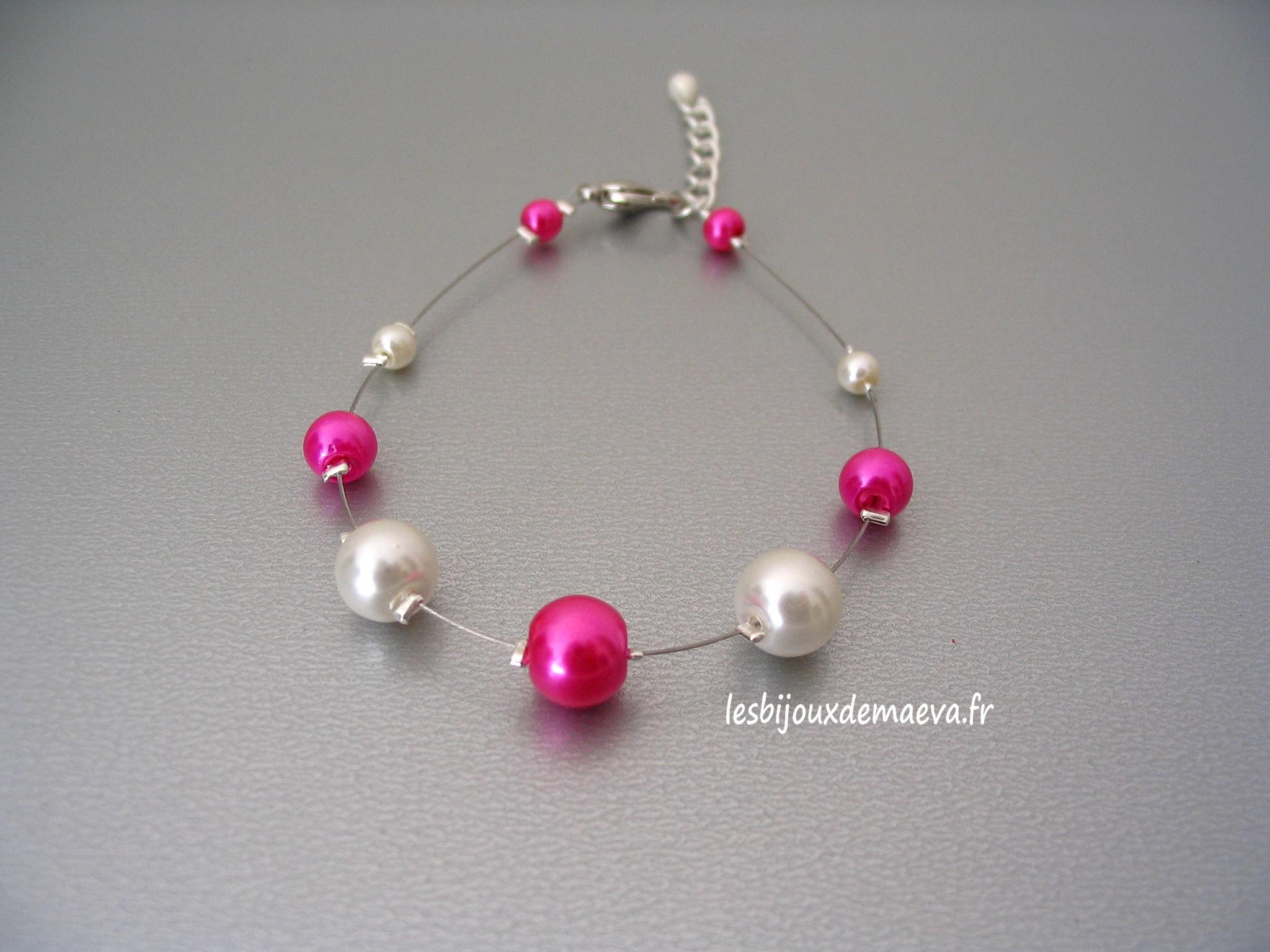 collier de perle fushia