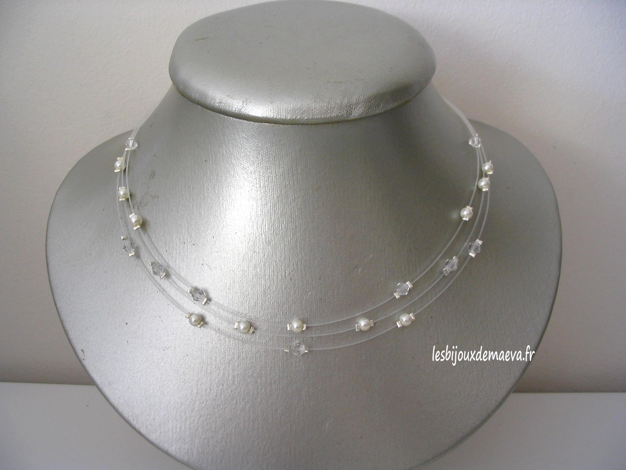 9afd5fbdb45cd Collier mariage pas cher transparent et ivoire Myriade