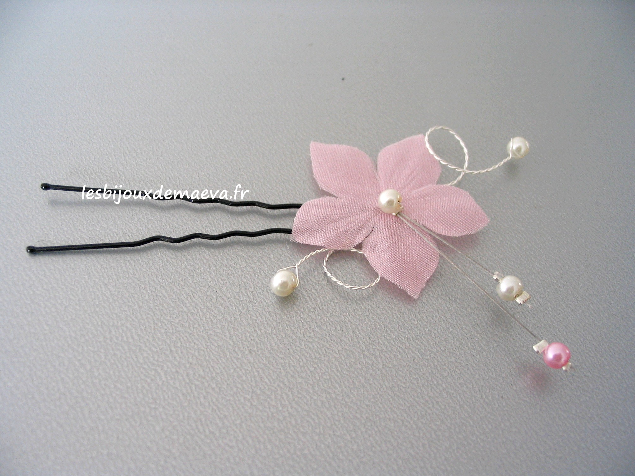 Epingles Cheveux Mariage Fleur Rose Poudre Radieuse